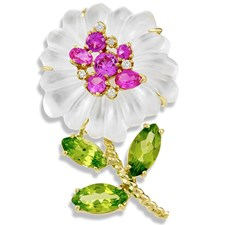 Mother of Pearl, Pink Topaz, and Peridot Pin