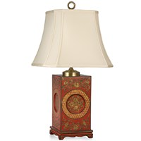 Red Chinoiserie Lamp