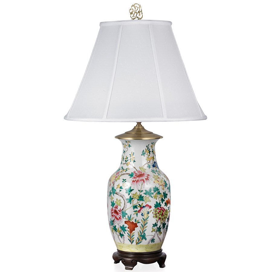 MultiColor Floral Porcelain Lamp