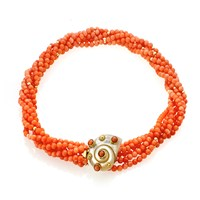 18k Gold Coral Bead Twist Necklace with Shell Clasp