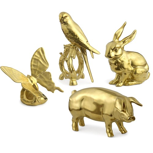 Gold Porcelain Animal Figurines