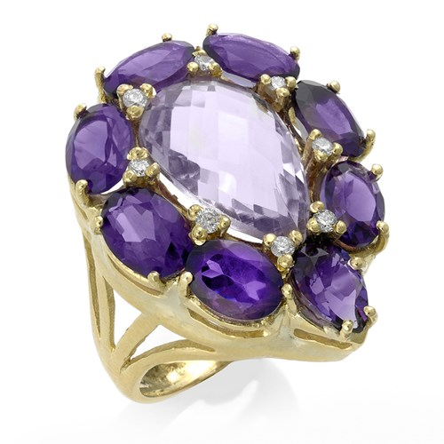 18k Gold Pear-Shaped Cluster Ring with Quartz, Amethyst, & Diamond