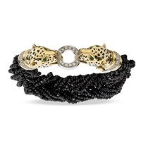 18k Yellow Gold Cheetah Head Bracelet with Diamonds & Spinel