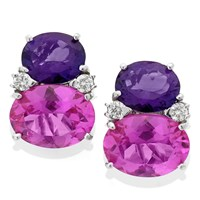 18k White Gold Gumdrop Earrings with Amethyst & Pink Topaz