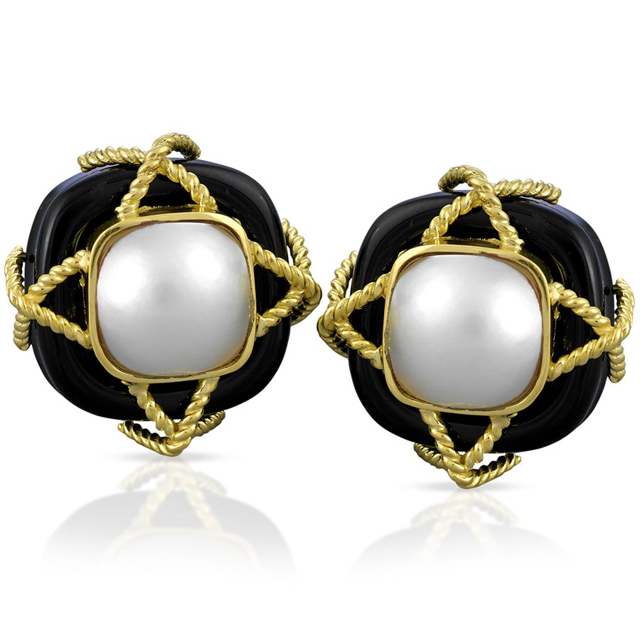 Onyx And Mabe Pearl Earrings Hover To Zoom