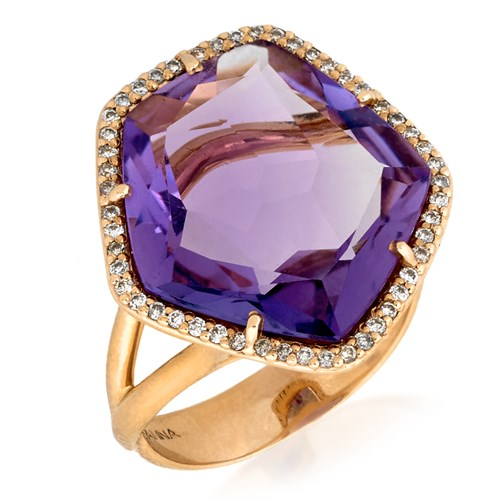 18k Rose Gold Amethyst Ring with Diamonds