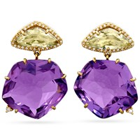18k Gold Amethyst & Praziolite Drop Earrings, Posts
