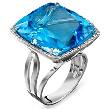18K White Gold Blue Topaz & Diamond Border Cocktail Ring
