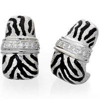 18k White Gold Tiger Earrings with Diamonds