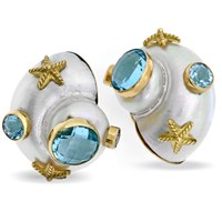 18k Nautilus Shell Earrings with Blue Topaz & Seashells, Clips
