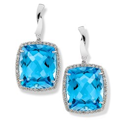 Square Blue Topaz Earrings
