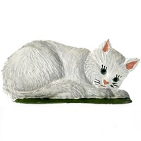 Pewter Lying White Cat Figurine