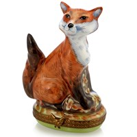 Fox Limoges Box with Chicken Fastener