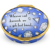 "Halcyon Days ""Diamonds are a Girl's Best Friend"" Enamel Box"