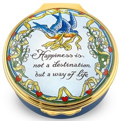 "Halcyon Days ""Happiness is Not a Destination..."" Enamel Box"
