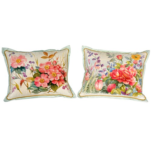 Floral Handpainted Silk Pillows