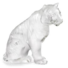 Lalique Crystal Sitting Tiger Figurine