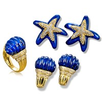Lapis Lazuli and Diamond Sea Life Jewelry