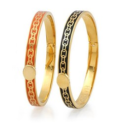 Halcyon Days Skinny Chain Hinged Enamel Bangles