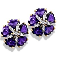 "18k Gold Amethyst ""Sand Dollar"" Earrings with Diamonds"