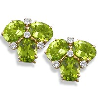 Peridot and Diamond Cluster Earrings