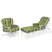 Striped Wrought Iron Indoor Outdoor Furniture