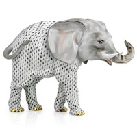 Herend Large Elephant Figurine, Black & Gray