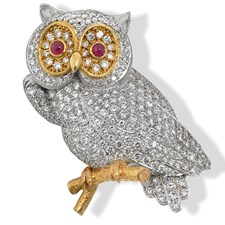 18k White & Rose Gold Diamond Owl Pin