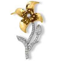 18k Gold Diamond Clematis Pin