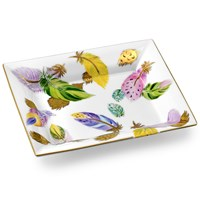 Vivaldi Rectangular Pocket Emptier with 14k Gold Leaves