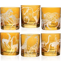 Safari Double Old-Fashioned in Amber, Set of 6