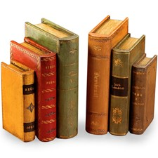 Italian Leather Books Bookends, Small