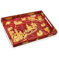 Red Chinoiserie Lacquer Tray