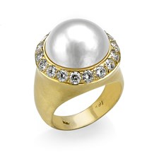 18k Gold Interchangeable Mabe Pearl & Diamond Ring