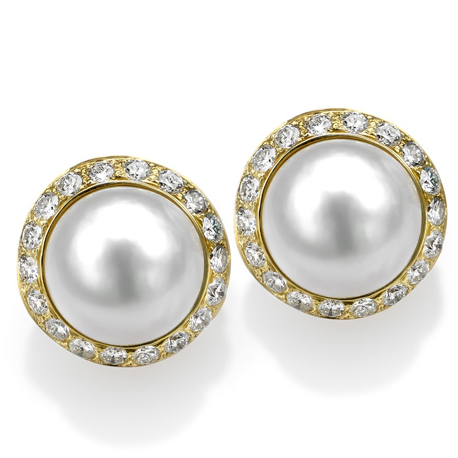 18k gold earrings with interchangeable mabe pearl pearl