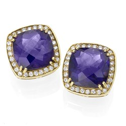 18k Gold Square Amethyst Earrings with Diamonds