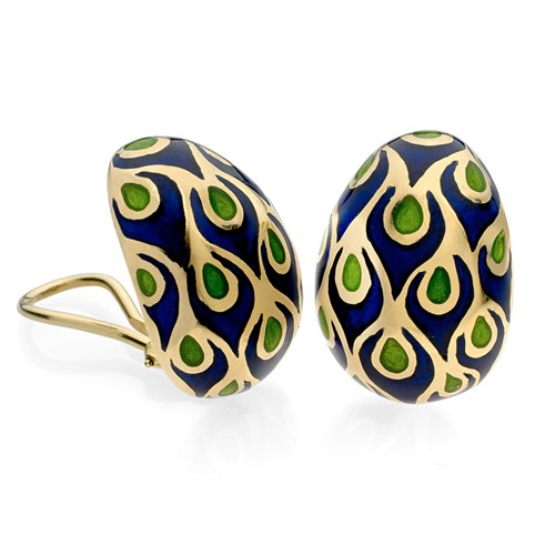 18k Gold Peacock Earrings with Blue & Green Enamel