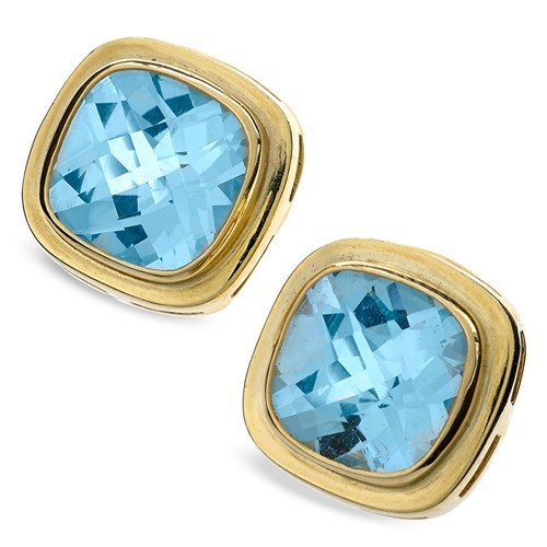 18k Gold Baby Swiss Blue Topaz Cushion Earrings