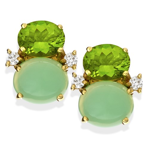 18k Gold Chalcedony & Peridot Earrings with Diamonds