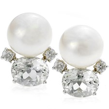 18k White Gold Stacked White Topaz & Pearl Earrings with Diamonds