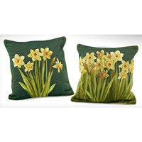 Dark Green Daffodil Decorative Pillows