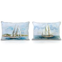 Handpainted Silk Sailboat Pillows