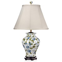 Blue Flowers & Green Vine Porcelain Lamp