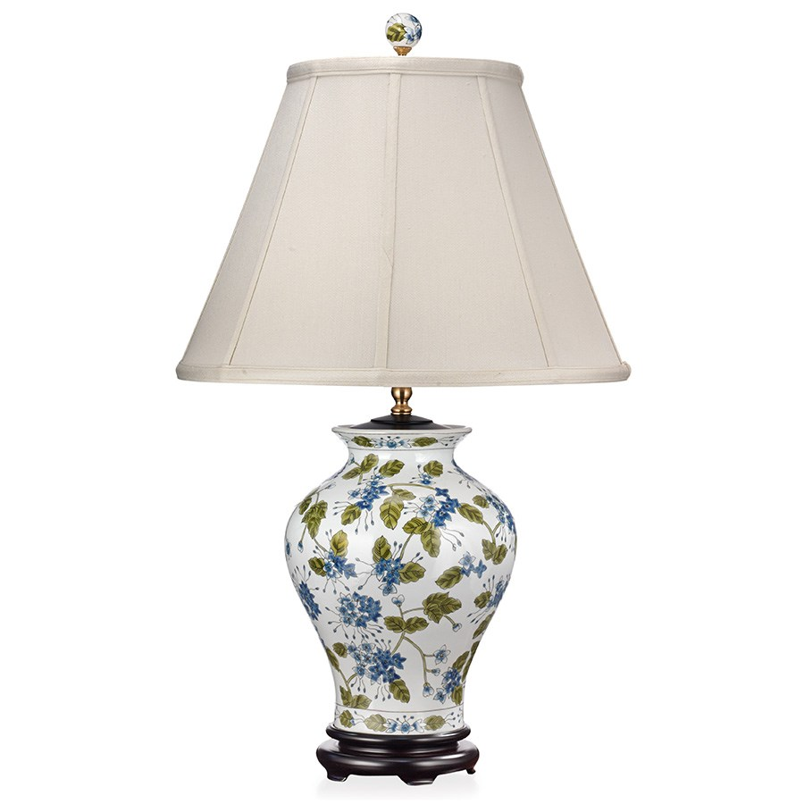 Blue flowers green vine porcelain lamp table desk for Table and vine