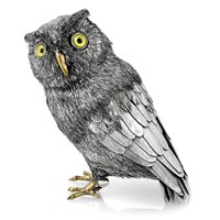 Sterling Silver Owl with Yellow Eyes