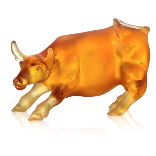Daum Pate De Verre Crystal Bull in Fighting Action