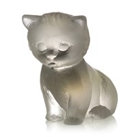 Pate De Verre Crystal Kitten, Gray