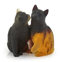 Daum 'Pate De Verre' Crystal Pair of Kittens