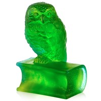 Daum 'Pate De Verre' Crystal Owl on Book