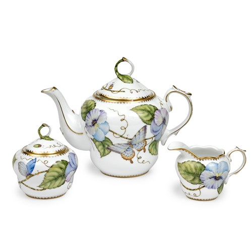 Anna Weatherley Blue & Purple Pansy Three-Piece Tea Set